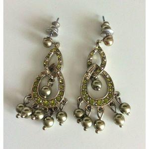 Vintage Monet Silver Green Dangle Pierced Earrings